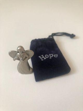 Silver HOPE Angel with Velvet pouch