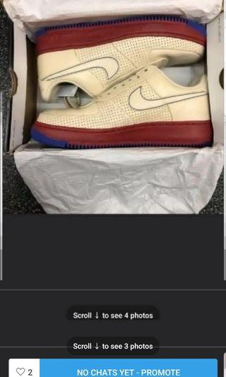 NIKE AIR FORCE 1 SUPREME MCO I/O '07 PHILLY SNEAKER STADIUM RETRO BEIGE WHITE RED BLUE RARE 9.5