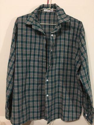 🚚 格子長袖襯衫(綠)