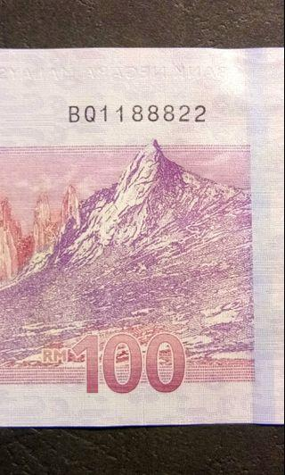 BQ 11 888 22 RM 100 banknote number 1188822
