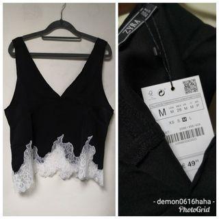 全新 zara黑色背心不規則白色lace邊 black tank top white irregular lace