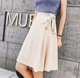 Khaki brown ribbon tie flare A line skirt