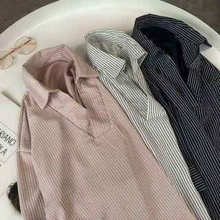(5/14晚上收單)中大尺碼韓版寬鬆顯瘦條紋襯衫