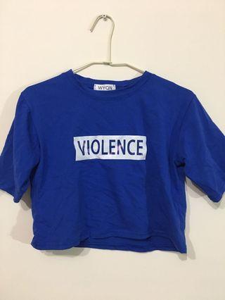 🚚 寶藍色字母短版t恤