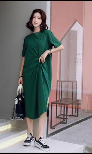 Korea knot green dress