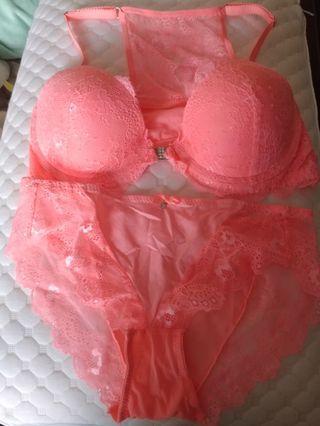 超新橙色 lace 前扣 bra set 配褲
