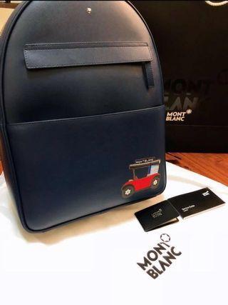 「全新」MontBlanc紳士藍圓拱後揹包-專櫃彩繪款
