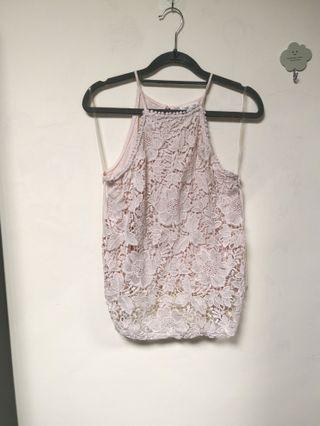 暗粉紅入膊lace吊帶背心 pale dusty pink lace top