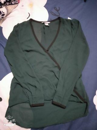 H&M墨綠色雪紡上衣