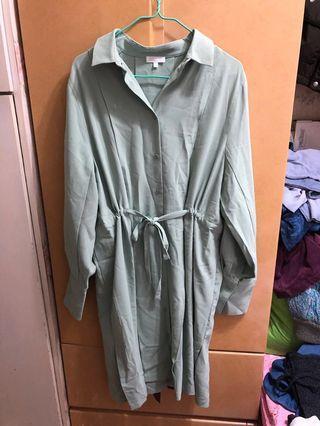 綠色恤衫裙 green shirt dress