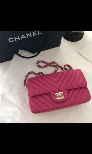 Chanel chevron rectangle mini pink