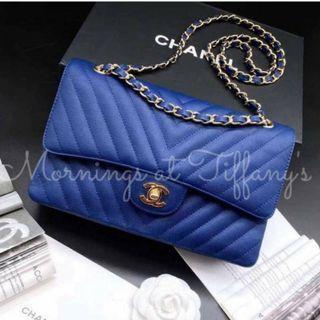 Chanel Chevron Classic Flap Caviar Leather