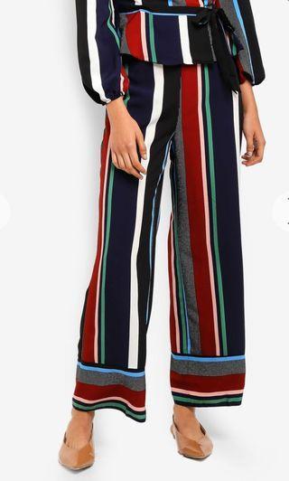 Miss selfridge petite navy multistripe wide leg pant