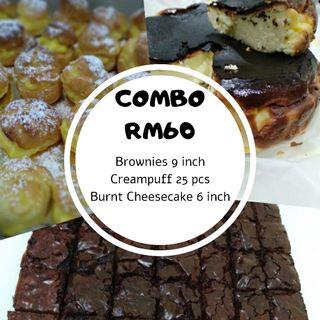 Combo Brownies, Creampuff and Burnt Cheesecake
