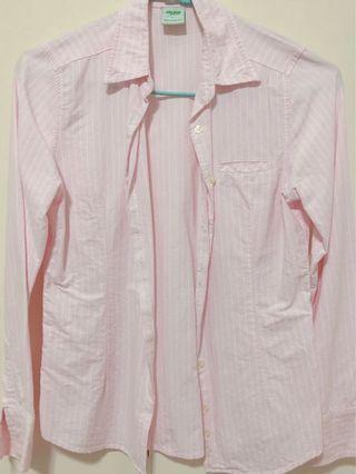 🚚 Galoop 胸前口袋粉色條紋襯衫