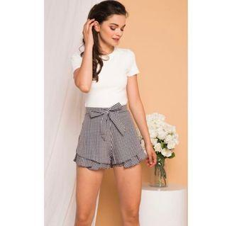 TSW Lovanna Gingham Ruffle Shorts