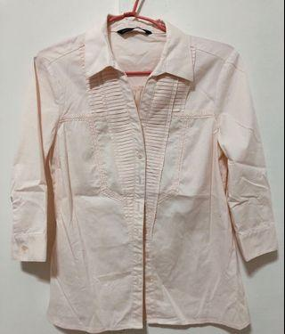 🚚 MASTINA 橘粉色七分袖胸前設計襯衫