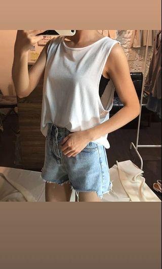 🚚 [現貨] 不規則棉質背心-白色