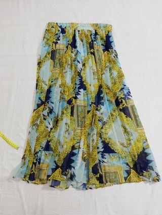 Ngu古著  歐風鬆緊百摺義大利製裙