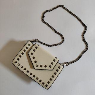 Beige Studded Chain Purse