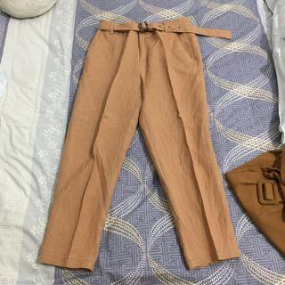 3mongkis highwaist tapered linen pants trousers celana belt