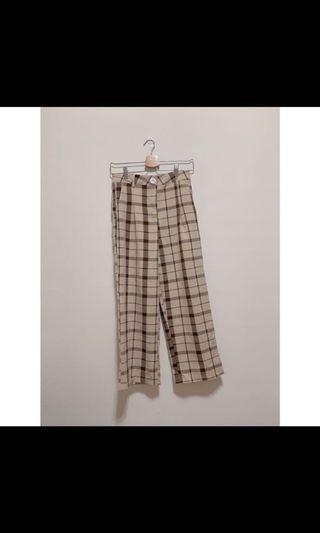 🚚 二手 棉麻咖啡格紋直筒褲 長腿