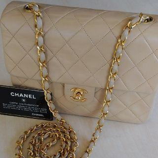 Vintage Chanel米色羊皮菱格金扣方胖子square flap bag