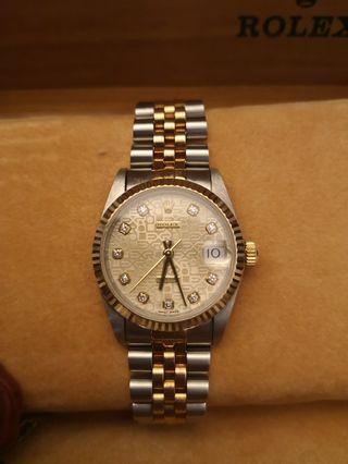 Rolex DateJust 68273 Half Gold Computer+Diamond 31mm Automatic