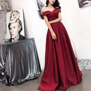 Satin Evening Gown in Red