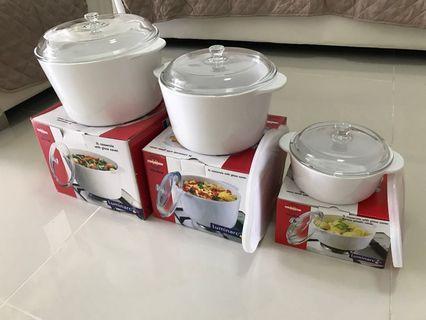 Set of Luminarc 5L, 3L and 1L casserole