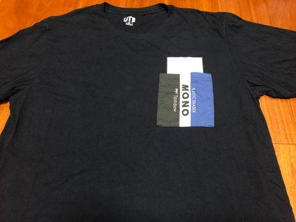🚚 日本 uniqlo 深藍色 可愛 mono 橡皮擦 口袋 素面 短袖 上衣 短tee