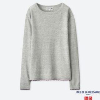 灰色針織毛衣圓領上衣女裝UNIQLO素色