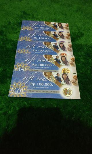 Gift card Voucher MAP nominal pecahan 100.000