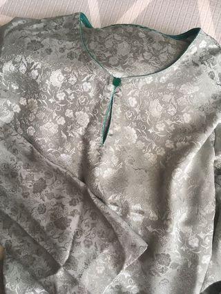 Baju Kurung Soft Green Grey Ala Silk