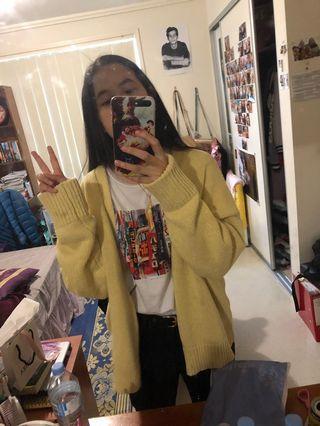 Korean Pale Yellow Knit Cardigan