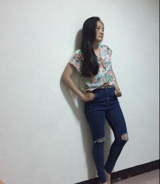 韓版深色鬆緊材質牛仔褲