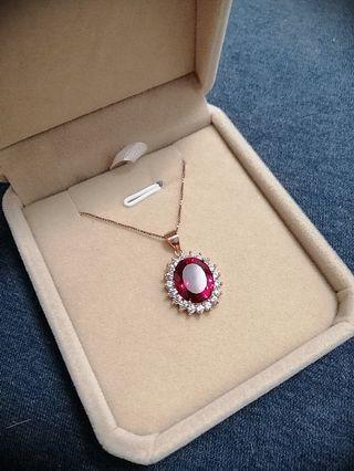 鴿血紅寶石項鏈(含鏈送盒)
