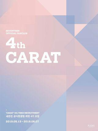 SEVENTEEN OFFICIAL FANCLUB CARATS 4TH GEN RECRUITMENT