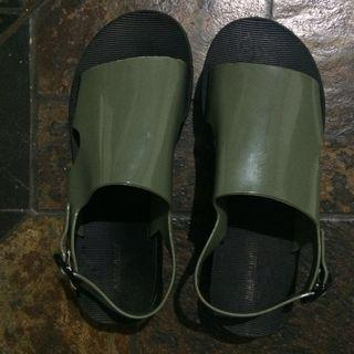 Sandal green army wedges sendal jelly
