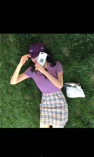 🚚 紫色素面短T 格子裙