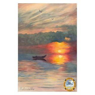 Painting - Sunset Boat 2