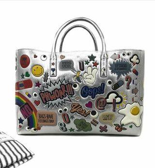 ANYA HINDMARCH Travel Silver Bag GHW • 42 x 28 x 18 CM • Comes with dust bag