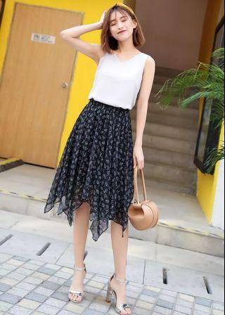 Navy Blue Frill Midi Skirt