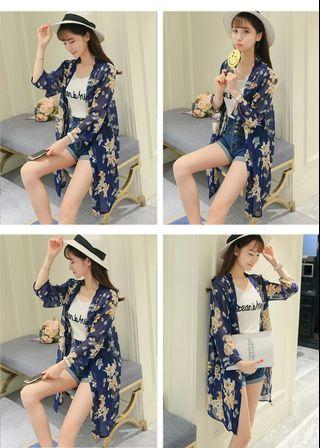 Navy Blue Summer Floral Cardigan
