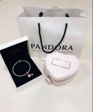 100% Authentic Pandora Bracelet with Heart Shaped Charm