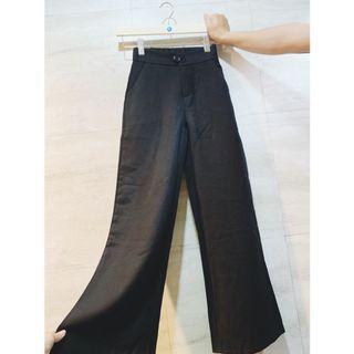 黑色落地褲 寬褲 長褲 闊腿褲