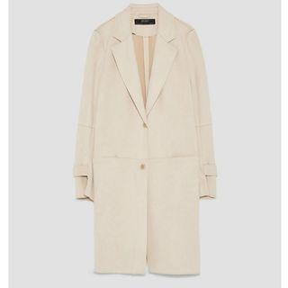 Zara Basics Beige Faux Suede Coat