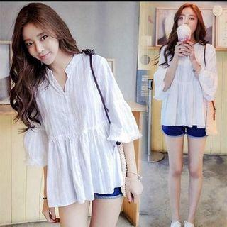 Cotton Linen Babydoll Top (off white)