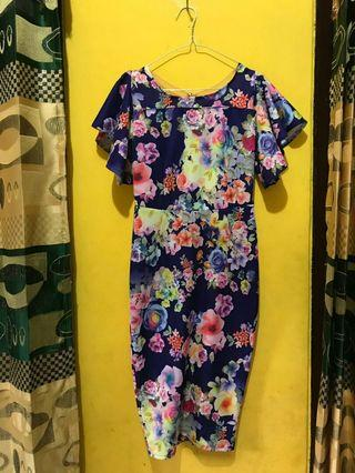 Dress import bahan scuba tebal