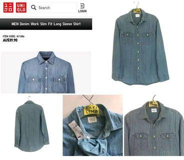 💥UNIQLO denim Workshirt #BAPAU